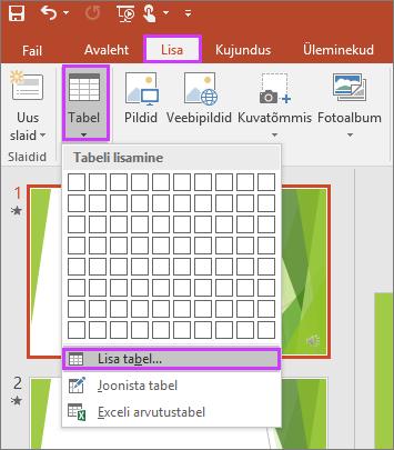 Pilt PowerPointi lindil kuvatavast lisamismenüü nupust Tabel