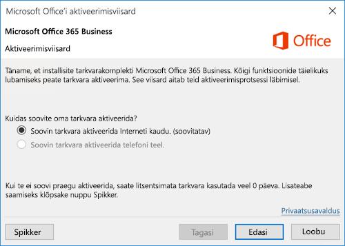 Kujutab Office 365 ettevõtteversiooni aktiveerimisviisardit.