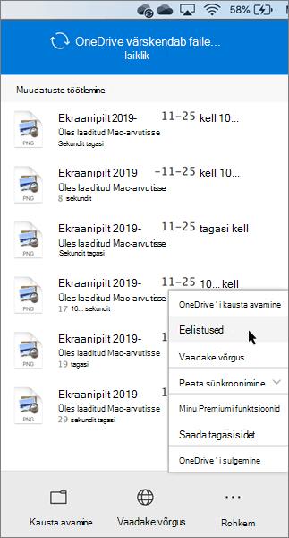 OneDrive'i isikliku versiooni eelistuste määramise kuvatõmmis