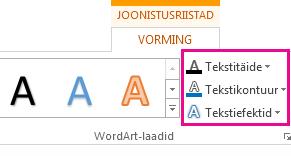 Menüü Joonistusriistad – vorming jaotis WordArt-laadid