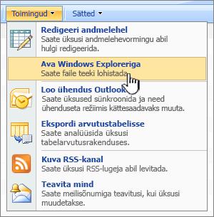 Suvand Ava Windows Exploreri menüüs jaotises toimingud