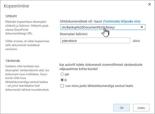 Kopeerimise dialoogiboks esiletõstetud URL-iga