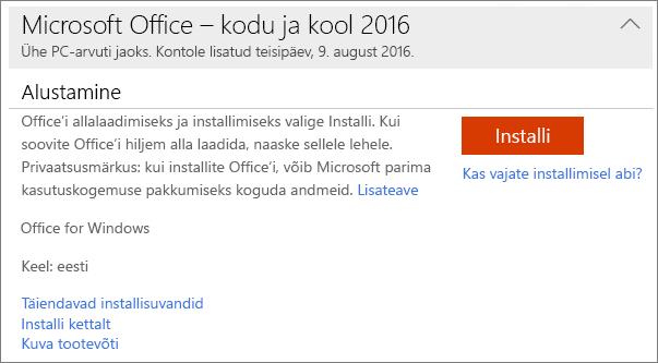 Kuvatakse Office'i ühekordse installi puhul kasutatav link Kuva tootevõti