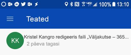 Saada teatisi keskel Androidi teatis, kui colleages redigeerida teie ühiskasutusse antud faile