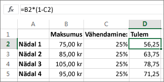 Näide summa protsendi võrra vähendamise kohta