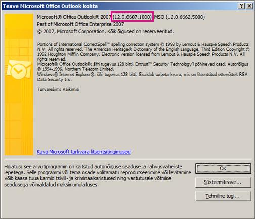 """Kuvatõmmis, mis näitab, kus kuvatakse  Outlook 2007 versiooninumber dialoogiboksis """"Teave Microsoft Office Outlooki kohta""""."""
