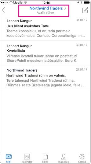Outlook mobile vestlusvaade päise esile tõstetud