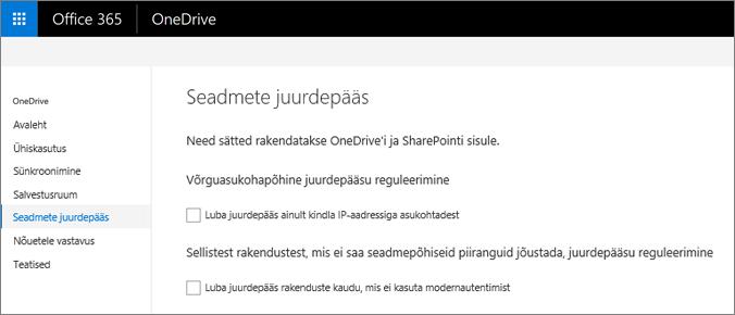 OneDrive'i halduskeskuse menüü Seadmete juurdepääs