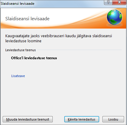 Kuvatakse slaidiseansi leviedastuse dialoogiboks rakenduses PowerPoint 2010.