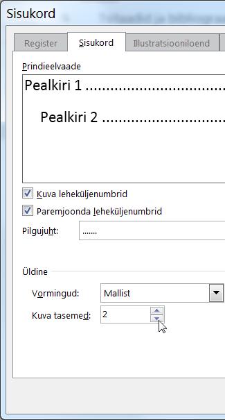 Dialoogiboks Sisukord