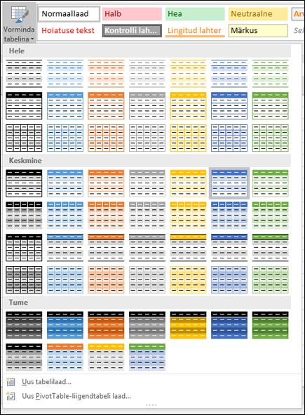 Exceli galerii Tabelilaadid