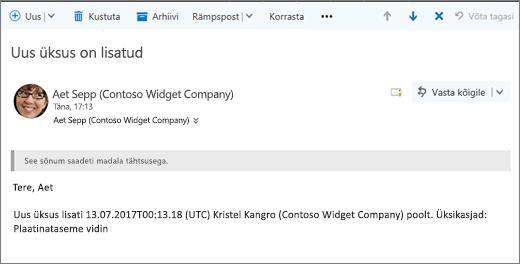 E-posti saadetud Microsoft Flow üksuse muutmisel