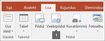 Kuvatõmmis veebipiltide lisamisest Office'i rakendustesse.