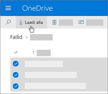 OneDrive'i failide valimise ja allalaadimise kuvatõmmis.