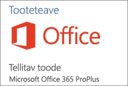 Kuvatõmmis Office'i rakenduse tooteteabe jaotise osast. Näitab, et rakendus on Office 365 ProPlusi raames tellitav.