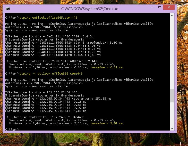 Oma IP-aadressi otsimine klientarvuti käsurea kaudu PSPingi abil.