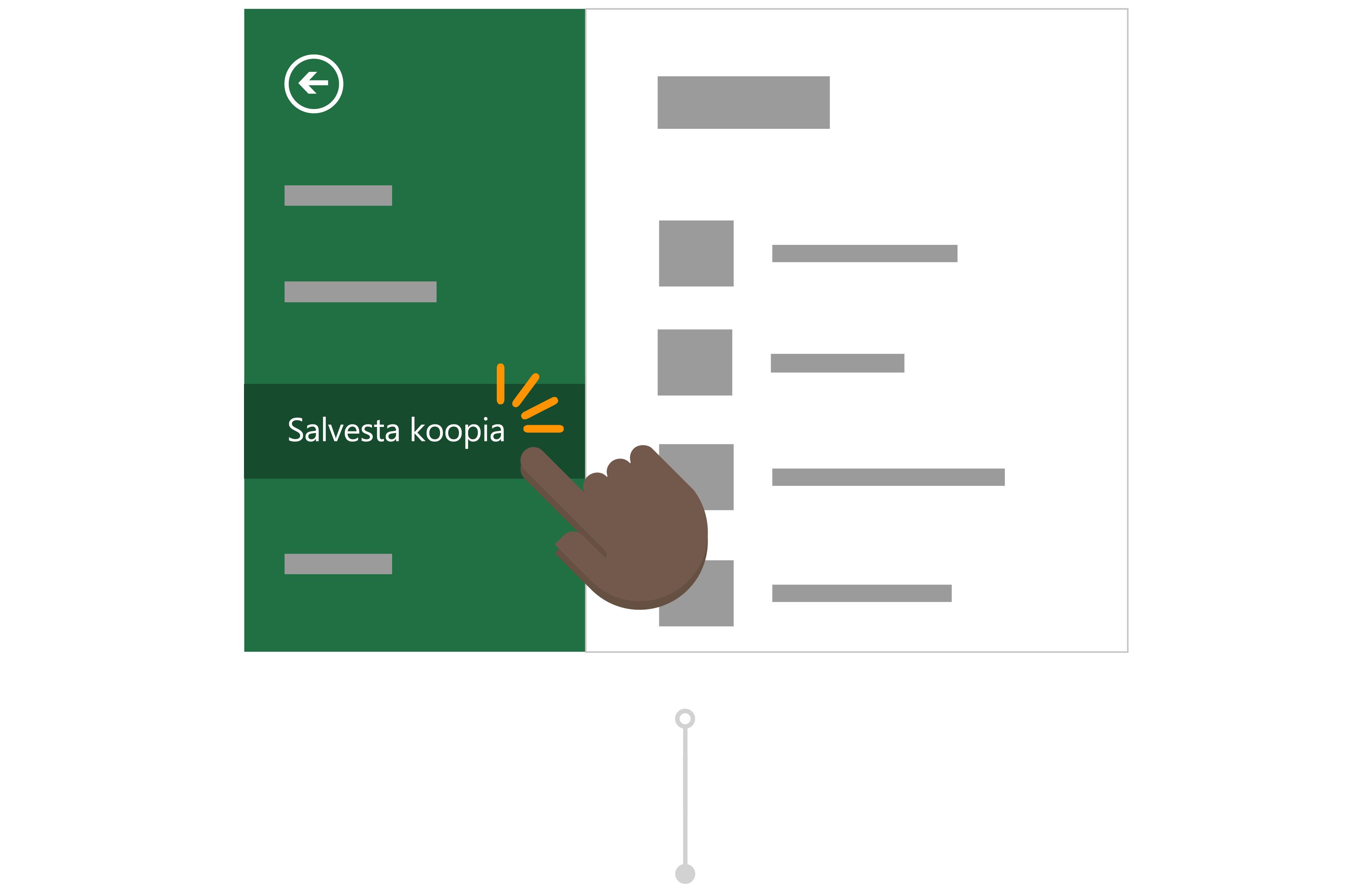 Todd kasutab Salvesta koopia salvestamine oma versiooni aruande oma OneDrive'i.