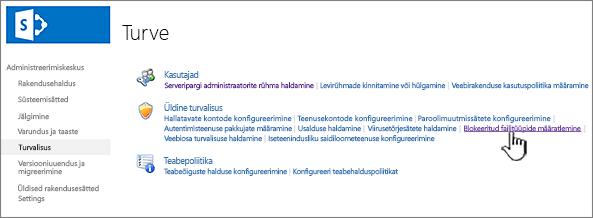 Blokeeritud failide määramine administreerimiskeskuse turbest
