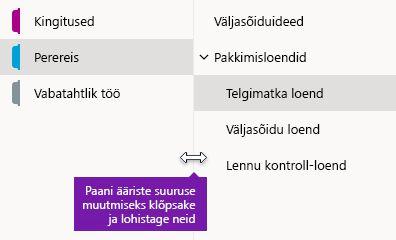 Navigeerimispaanide suuruse muutmine OneNote'is Windows 10 jaoks