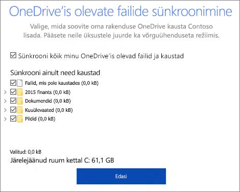 Kuvatõmmis OneDrive'i dialoogiboksist sünkroonitud failidest
