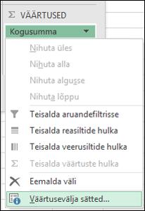 Exceli dialoog Väärtusevälja sätted