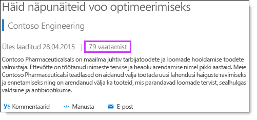 Office 365 Video statistika vaated