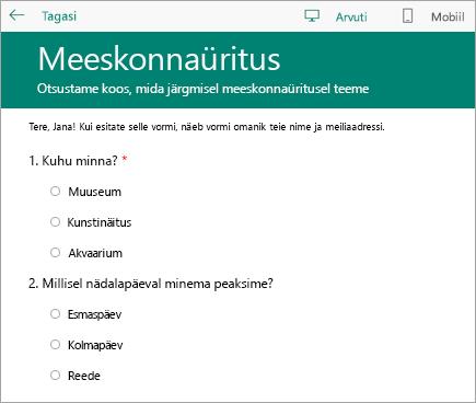 Klassi küsitlusvormi arvutirežiimi eelvaade