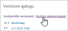 Versiooni dialoogiboks, kus on valitud valik Kustuta vaheversioonid
