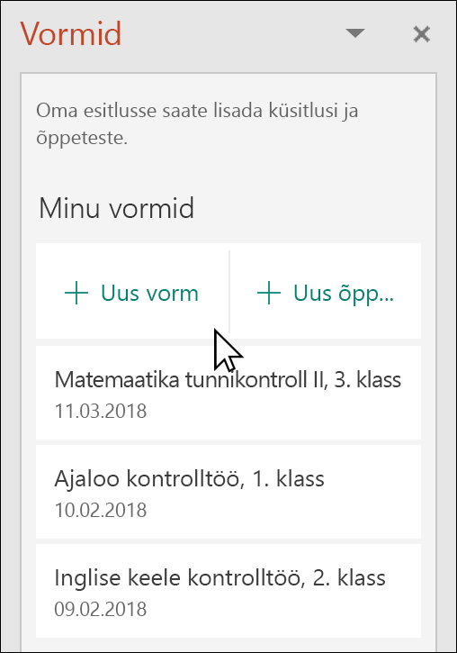 Microsoft Forms paan PowerPointis