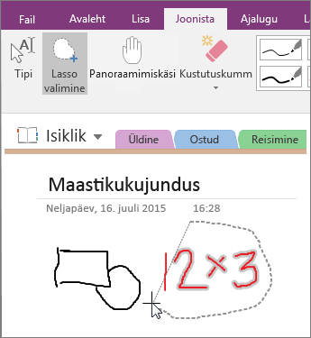 """Kuvatõmmis nupu """"Lassovalik"""" kasutamisest rakenduses OneNote 2016."""
