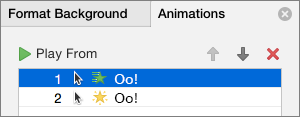 Set animation options in the properties pane