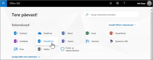 Office 365 avalehe valitud SharePointiga