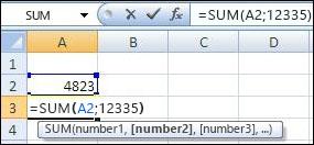 Funktsiooni SUM kasutamine lahtri ja väärtuse liitmiseks.