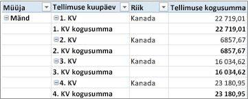 PivotTable-liigendtabel tabeli kujul