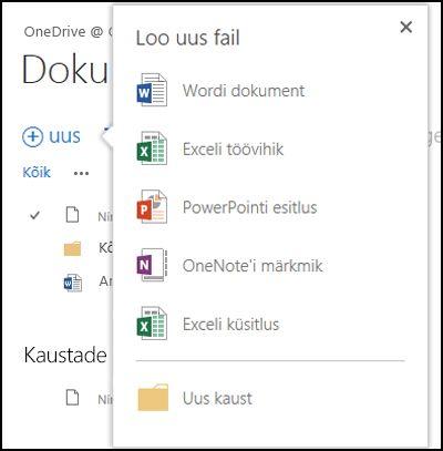 Office Online'i valikud, mis kuvatakse OneDrive for Businessi teegis nupu Uus klõpsamisel
