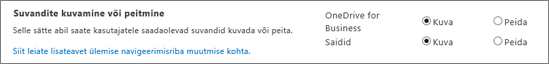 SPO SharePointi sätete jaotis Suvandite kuvamine või peitmine