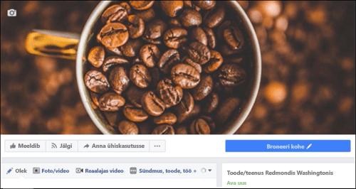 Kuvatõmmis: Microsoft Bookings pärast ühenduse Facebooki lehe.