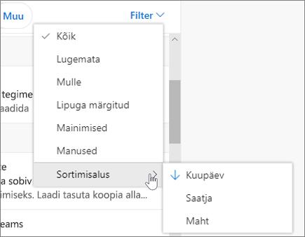 Meilisõnumite filtreerimine Outlooki veebirakenduses