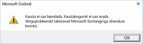 Outlook 2016 tõrge – kausta ei saa laiendada