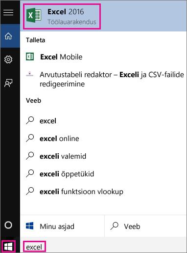 Rakenduste otsimiseks käivitage Windows 10 otsing või veebiotsing