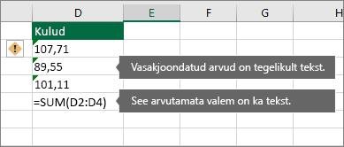 Tekstina salvestatud arvudega lahtrid roheliste kolmnurkadega