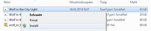 Paremklõpsake fonti ja siis klõpsake käsku Installi.