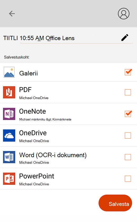 Rakenduse Office Lens Ekspordisuvandid Androidi jaoks