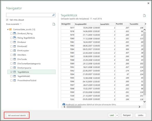 Power Query – täiustatud Access DB konnektor – uus nupp Vali seotud tabelid dialoogiboksis Navigaator