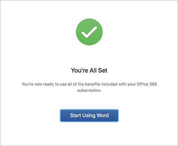 Rakenduse Word 2016 for Mac kasutuselevõtmine