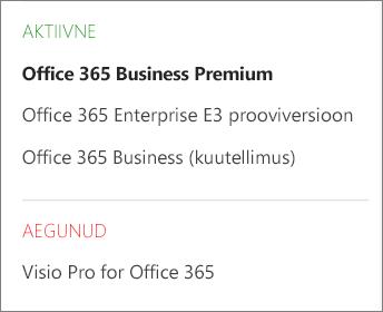 Office 365 halduskeskuse lehe Tellimused kuvatõmmis, kus on näha oleku alusel rühmitatud tellimuste loend.