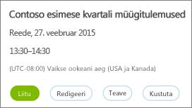 Skype'i ärirakenduse veebiplaanuri koosoleku üksikasjade paan