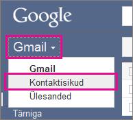 Google Gmail – nupu Kontaktid klõpsamine