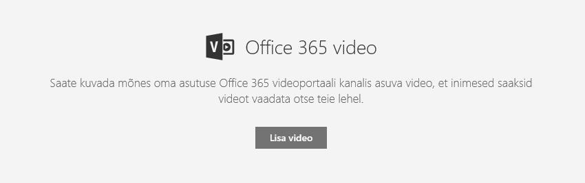SharePointi Office 365 videoportaalist video lisamise dialoogiboksi kuvatõmmis.