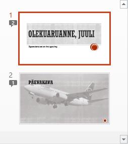 Arvudega tähised näitavad, et slaidile on lisatud kommentaare